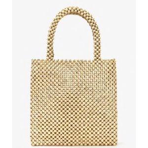 Natural beaded tote handbag